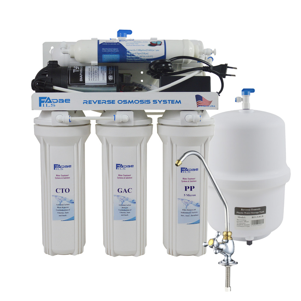 Premium 5-Stage Reverse Osmosis Drinking Water Filter System - 75 GPD/100-240Voltage/Europe Two-pin plug 300 gpd water filter ro booster pump for reverse osmosis drinking water