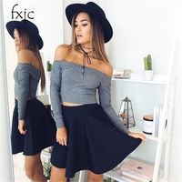 2017 autumn women's new solid color simple strapless shoulder long sleeve T shirt trend bottoming shirt ZR148