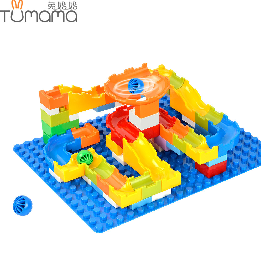 Tumama DIY Marble Race Run Maze Balls Track Building Blocks Children Gaming Large Particles Toys 64PCS Compatible With Duplo