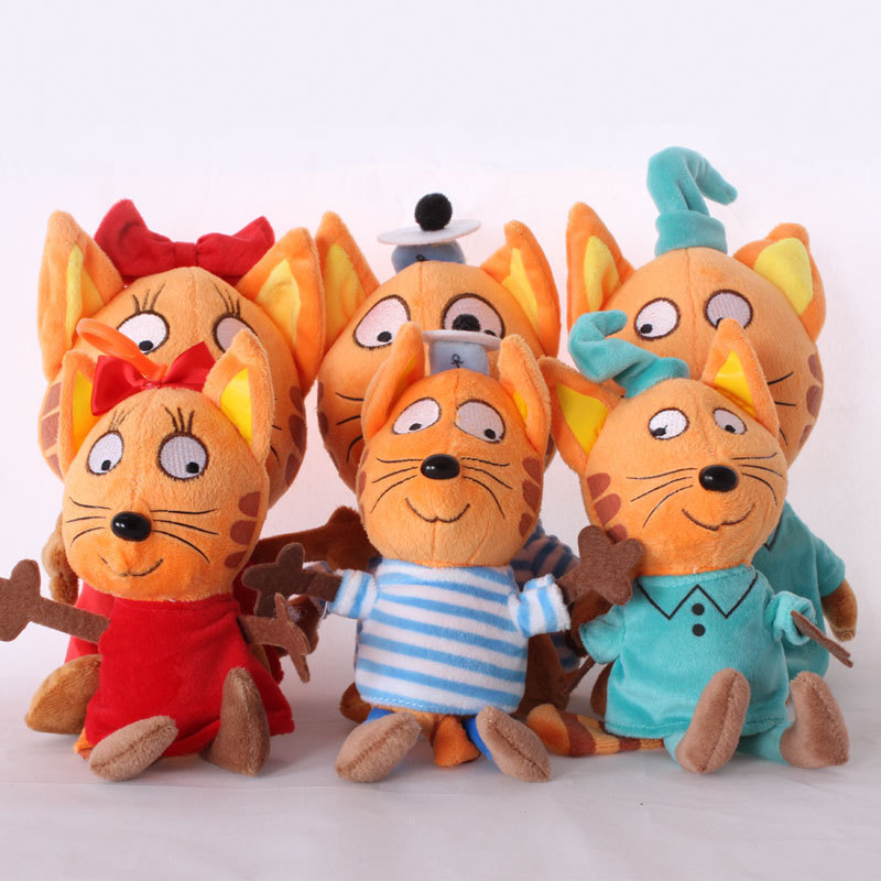 DCM New Russia Happy Kitten Stuffed Cat Plush Toys Cartoon Animals Soft Doll Kids Infants Gifts 20CM Creative 3 Types Avalible 20cm pororo little penguin plush pororo petty eddy crong loopy poby harry plush soft stuffed animals toys doll for kids gifts