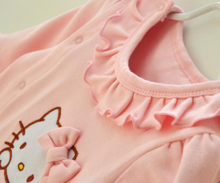 HTB1htMDJFXXXXc3XFXXq6xXFXXX8 - 2 Pcs Newborn Girl Organic Cotton Hello Kitty Romper Set Baby Cute Pink Jumpsuit with Hat New Born Ruffled Collar Bowknot Outfit
