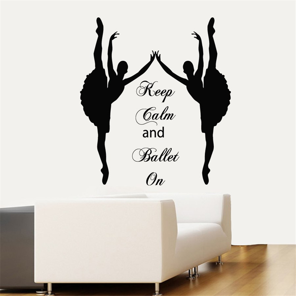 Russia Wall Decals Keep Calm And Ballet On Quote Ballerina Ballet Studio Sport font b Home