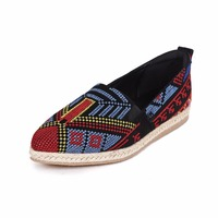 Women Embroidery Pointed Toe Casual Shoes Summer Shallow Mouth Retro Traditional National Style Lady Shoes 20170126
