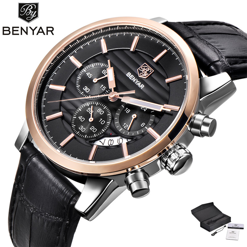 Date Pin Buckle Stops Sport Casual Quartz Fashion Men Genuine Leather Band + Gift Box Wrist Watch Military Chronograph