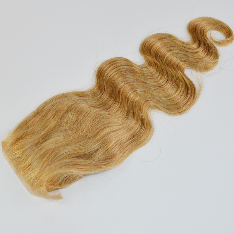 #27 Honey Blonde Top Lace Closure Body Wave Free/middle/three 3 Part way 7A Brazilian Hair Lace Closures Bleached knots