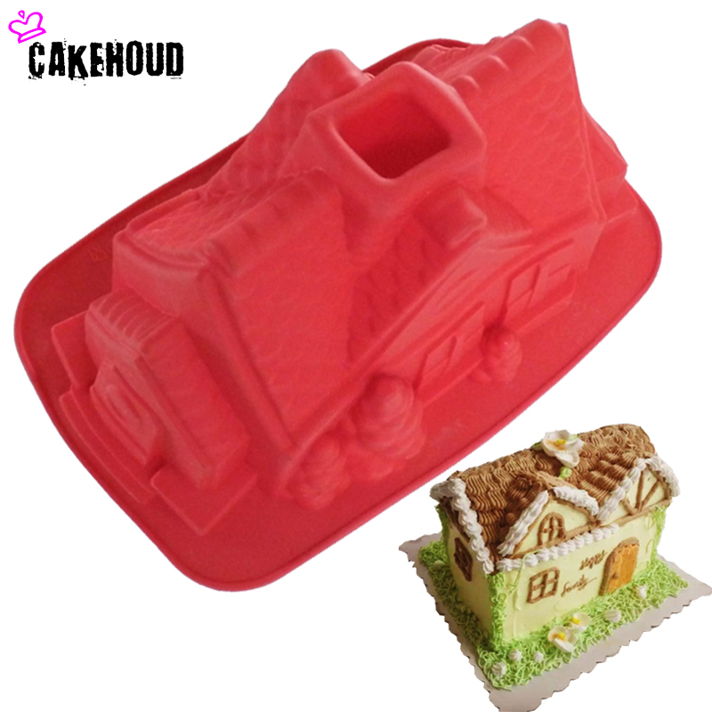 New Arrival Cartoon House Shape Cake Mugg DIY Choklad, Fondant, Bröd, Bake Decoration Sockerkaka Silikonformar Jul
