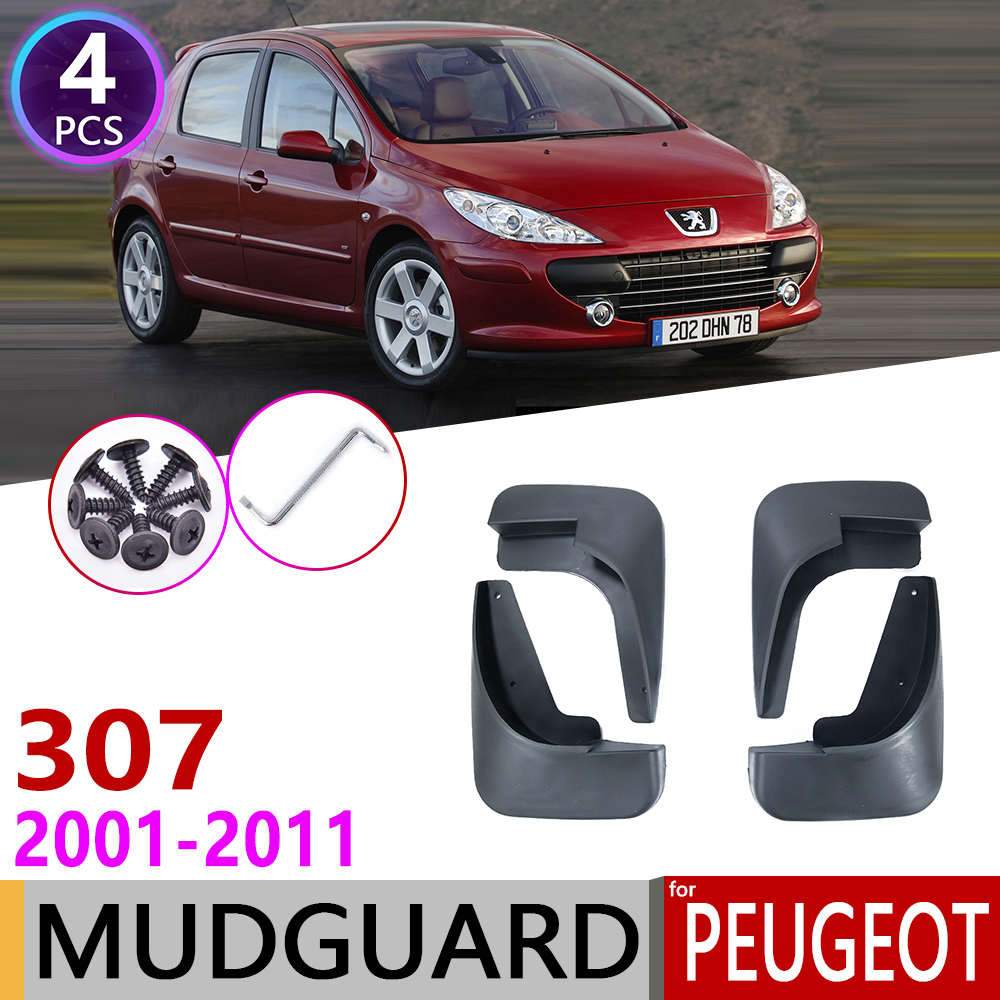 for Peugeot 307 307sw 2001~2011 Mudflap Fender Mudguard Mud Flaps Guard Accessories 2002 2003 2004 2005 2006 2007 2008 2009 2010 image