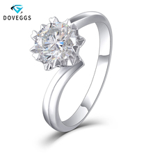 DovEggs Trendy Sterling Solid 925 Silver 1ct H Color Moissanite Engagement Ring for Women Wedding Gift  Ladies Ring цена и фото
