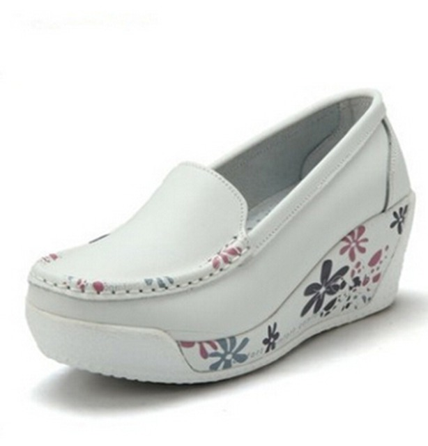 Genuine Leather Women's Shoes Fashion Wedges Slippers Platform Shoes For Women Fashion Flower Print Lady Shoes 7 Color .SPP-351