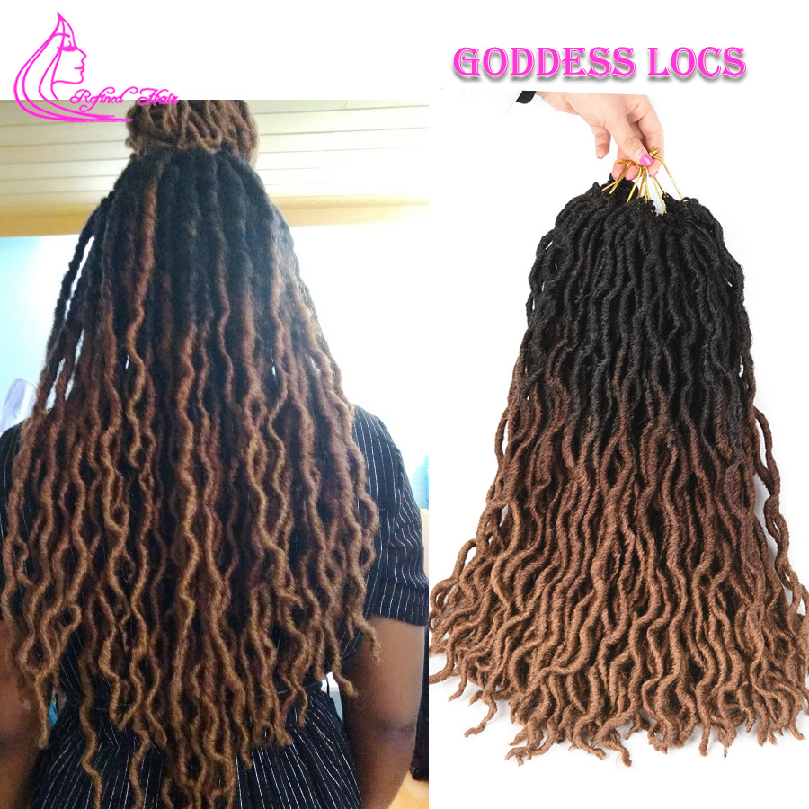 Refined Hair Ombre Goddess Faux Locs Crochet Hair 18inch Long Synthetic Soft Crochet Braids Burgundy Brown Blonde Braiding Hair
