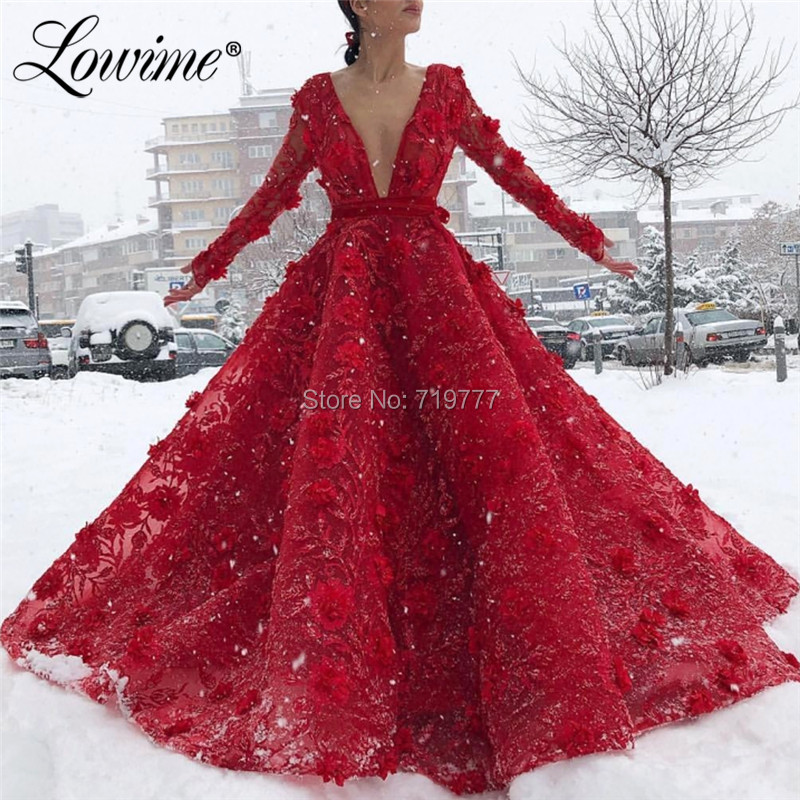 Deep V Neck   Evening     Dress   A Line Flower Party   Dresses   2019 Long Sleeves Prom Gowns Vestido De Festa Arabic Dubai   Dresses