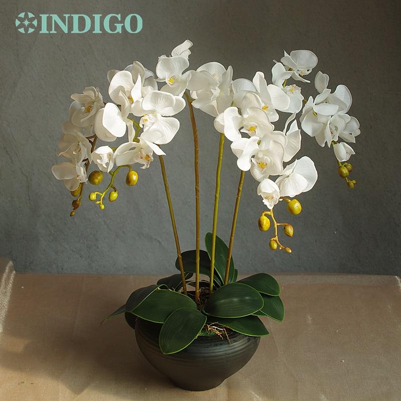 Bloemstuk Orchideeën (4st orchidee + 3st blad) Real Touch Bloem - Feestversiering en feestartikelen - Foto 2