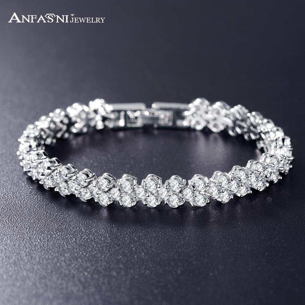 Aliexpresscom  Buy ANFASNI Wedding Bracelets  Bangles High Quality Silver Color AAA Zircon