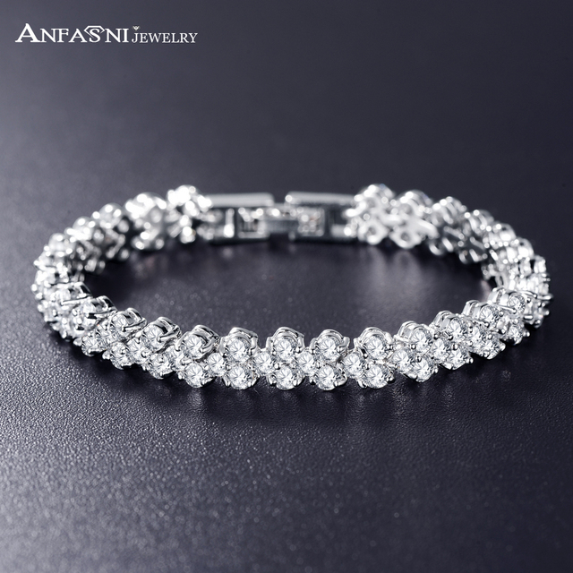 ANFASNI Wedding Bracelets & Bangles High Quality Silver Color AAA ...