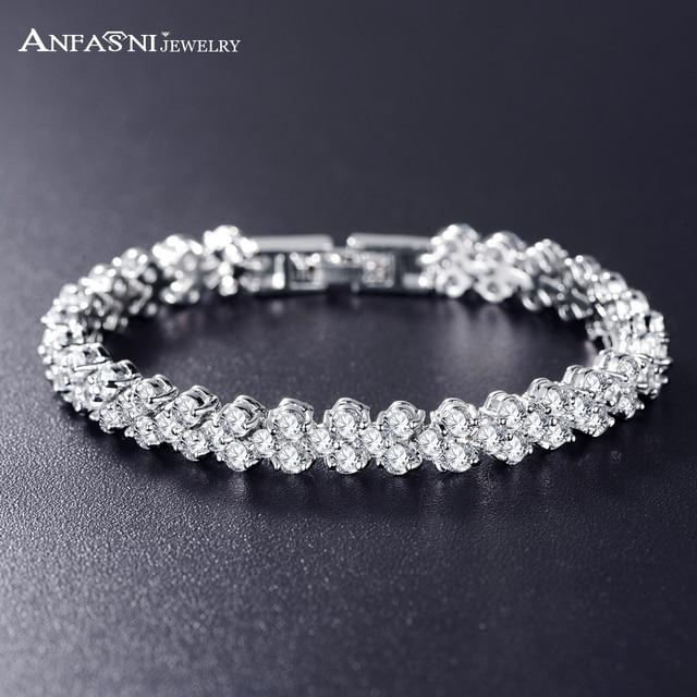 Anfasni wedding bracelets bangles high quality silver color aaa anfasni wedding bracelets bangles high quality silver color aaa zircon bride bracelet bangle for women junglespirit Choice Image