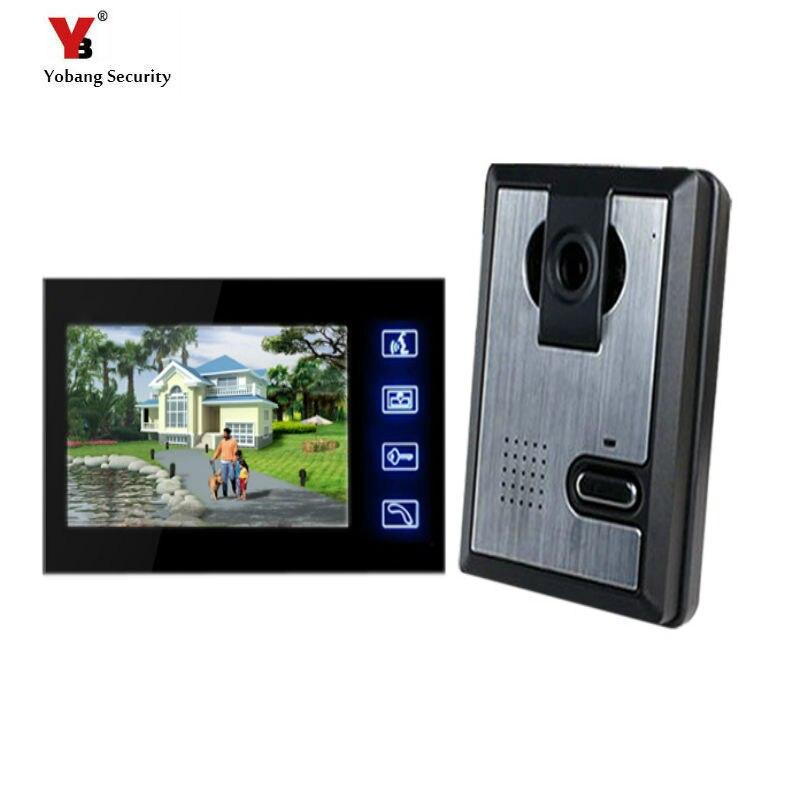 Yobang безопасности Бесплатная доставка 7 дюймов видеомонитор сенсорной клавиатурой Ночное видение дома Дверные звонки визуальный дверь коль... ...