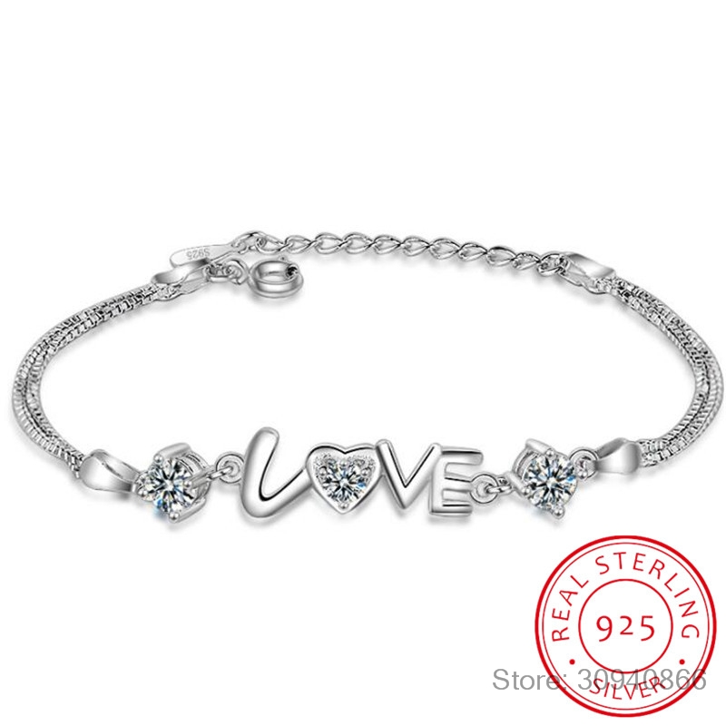 Heart Love Round Cubic Zirconia Double Layer Box Chain Bracelet Real 925 Sterling Silver Fine Jewelry For Women Party Gift