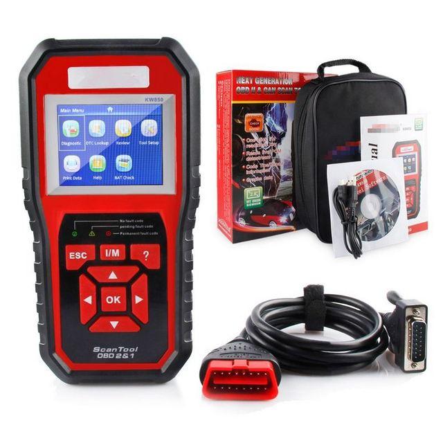 Best Price 2018 Auto Scanner KW850 Full OBD2 Car Diagnostics Tool KW 850 OBDII Auto Scanner PK AD310 NT301 Update Free On PC Multi-language
