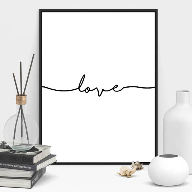 Love Sign Word Art Black And White Poster Canvas Prints Art Inspirational Wall Modern Home Decor