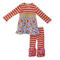 Mustard Pie Fall Winter Clothes For Kids Orange Stripes Floral Top Pants Rfull Boutique Sets Girls Cotton Clothing F040