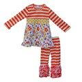 Torta de mostarda queda roupas de inverno para crianças orange stripes floral top calças rfull boutique define girls roupas de algodão f040