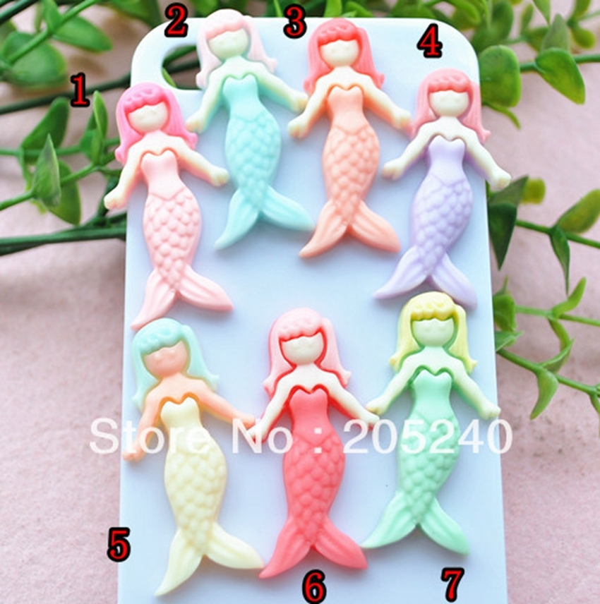 10pcs/Lot Mixed Colors Kawaii Resin Mermaid Cabochons Botoes Flat Back Resin Animals For DIY Phone Decoration with 10 Deisgns