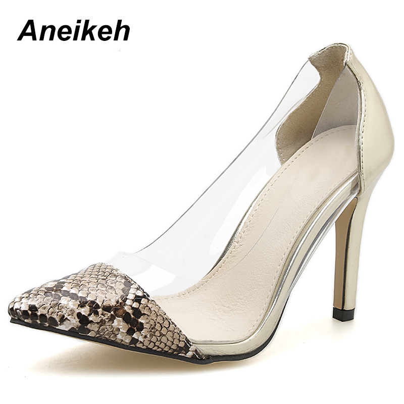 74cb067c8f4 US $15.76 46% OFF|Aneikeh 2019 Leisure PU Pumps Women Serpentine  Transparent Slip On Pointed Toe Shallow Thin High Heels Serpentine Silver  35 40-in ...