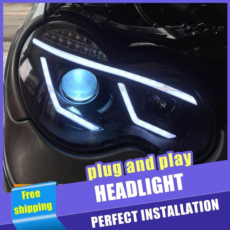 2 pièces voiture Style LED phares pour Benz W203 c-class 00-07 pour W203 lampe frontale LED DRL lentille Double faisceau H7 HID xénon bi xénon lentille