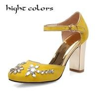 New Beading Flower Crystal Gladiator Thick Super High Heel Round Toe Limit Velvet Strange Style Women