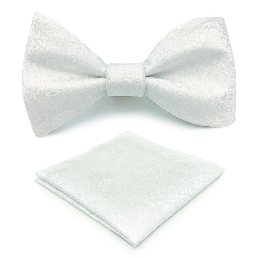 E31 White Paisley Mens Bowtie Fashion Ajustable Self Bow Tie Pocket Square Set Wedding