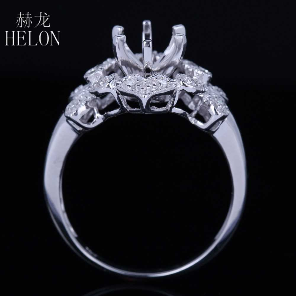 HELON Rắn 10 K (417) Vàng trắng 6.5 mét Vòng Cut Bất Tự Nhiên Diamonds Semi Núi Engagement Wedding Phụ Nữ Đồ Trang Sức Mỹ Vòng