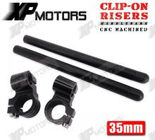High Quality Black CNC 1″ Riser Clip-On Higher Clipons Handlebar Universal Fit 35mm Forks Fits For CAFE RACER