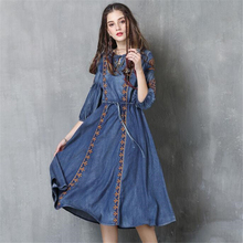 Women Dresses Autumn Vintage Casual Denim Embroidery Dress Ladies O-Neck Half sleeve Cotton Vestidos High quality Retro Dress