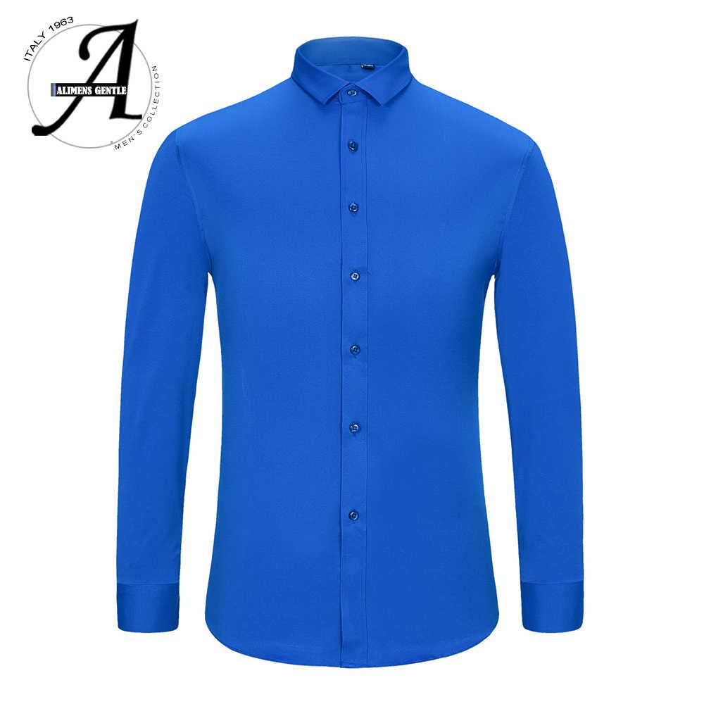 Алименс и нежные мужские бамбуковые волокна легко ухаживать нежелезные с длинным рукавом платье рубашка плюс размер 8XL 7XL 6XL цвет белый черный красный фиолетовый
