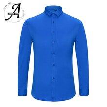 Alimens & Gentle Heren Bamboevezel Easy Care Strijkvrij Lange Mouw Overhemd Plus Size 8XL 7XL 6XL kleur Wit Zwart Rood Paars