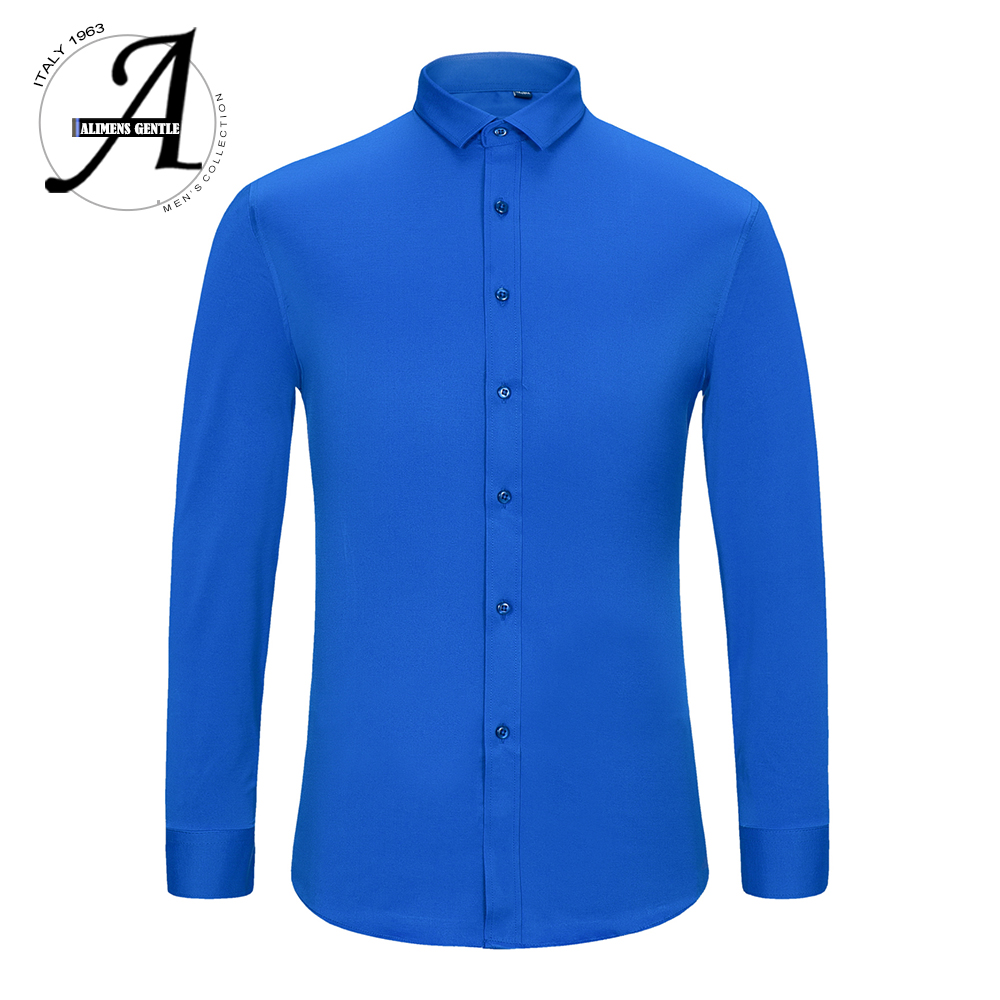 Alimens & Gentle Mens Bamboo Fiber Easy Care Non-iron Long Sleeve Dress Shirt Plus Size 8XL 7XL 6XL Color White Black Red Purple