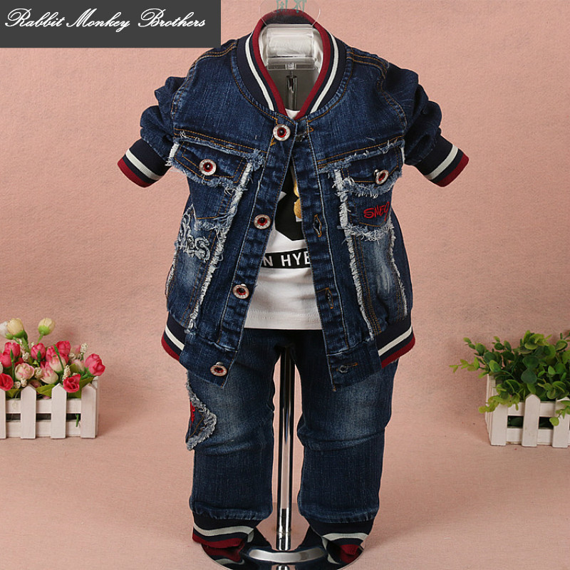 Baby boy clothes new spring autumn baby suits newborn boys fashion denim wing three piece set suit for infant baby boy outfit 2015 fashion baby spring three pieces suits korean printed cardigan shirts