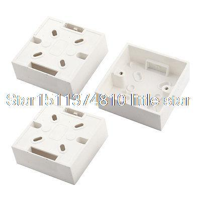 цена на 3 x White PVC Single Gang Wall Switch Pattress Back Box 86mm x 86mm x 33mm