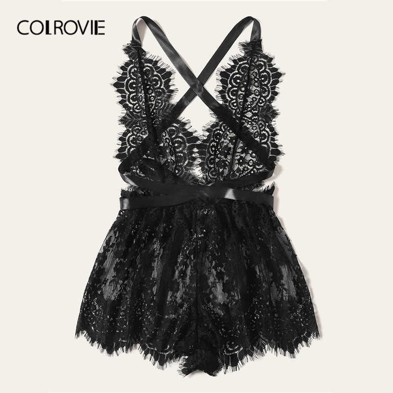 COLROVIE черный сплошной цветочный кружево крест накрест Комбинезон белье Тедди боди для женщин пижамы Lounge комбинезон для взрослых пикантные пижамы