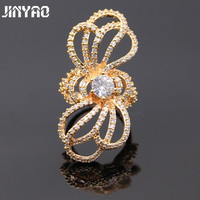JINYAO Beautiful Jewelry AAA Cubic Zirconia Champagne Gold Color Bow Ring For Women Wedding Party Jewelry