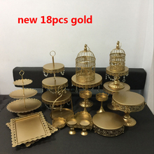 hot deal buy new gold wedding cake stand set 6-18 pieces cupcake stand barware decorating cooking cake tools bakeware set party dinnerware