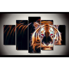 HD Prints Modular Canvas Picture Wall Art 5 Panel Fluorescent Tiger With Red Eyes Painting Living Room Home Decor Poster Frame