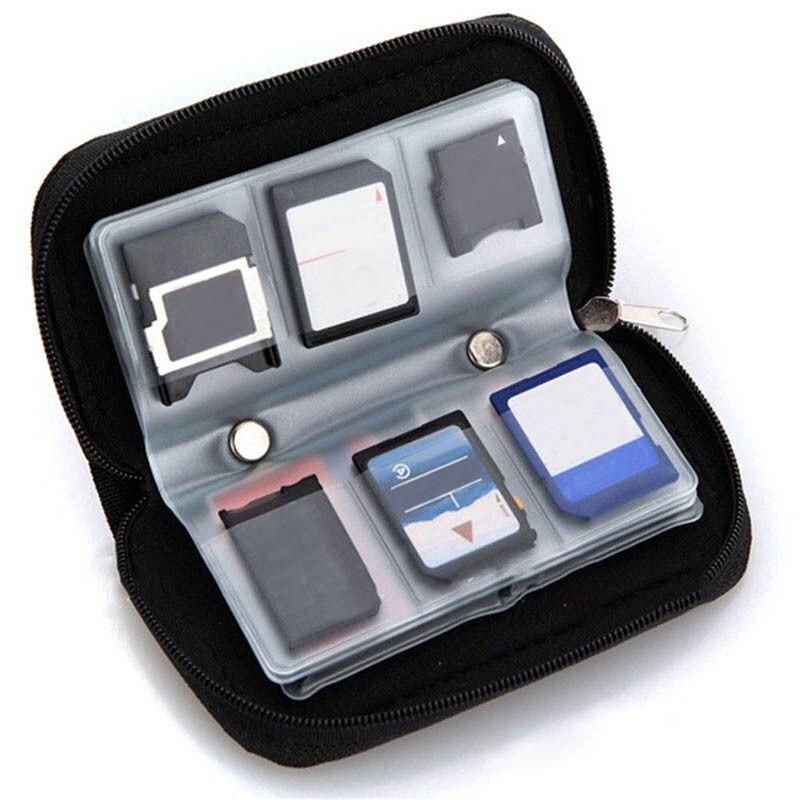 1 StÜck Schwarz Sd Sdhc Mmc Cf Für Micro Sd Speicherkarte Tragetasche Tasche Fall Halter Brieftasche Schutz