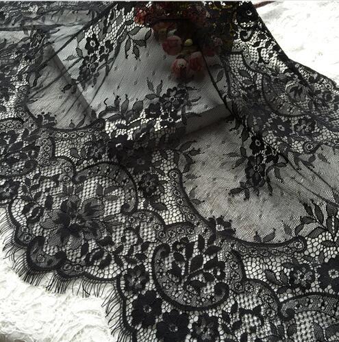 6 M / Lot bílá černá nádherné řasy krajky lemování vyšívání krajky tkanina diy šířka 45cm šaty oděvní doplňky