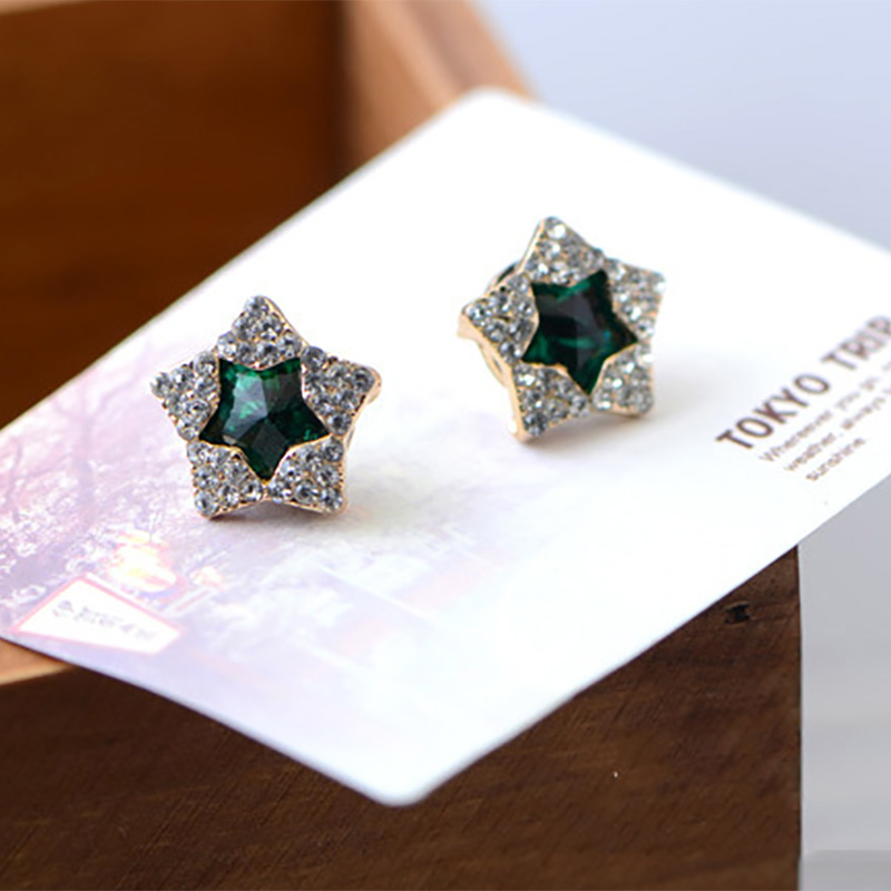 Full Rhinestone Double Star Stud Earrings For Women Gold Crystal Cubic  Zirconia Earring Female Fashion Jewelry Accessories-in Stud Earrings from  Jewelry ... 7d3acaf396b7