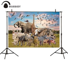 Allenjoy background photophone wild animal zoo safari nature elephant lion king children grassland backdrop photocall photobooth