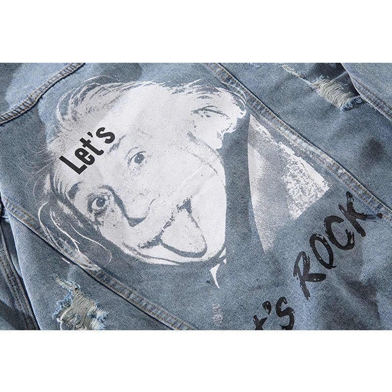 Aolamegs デニムジャケット男性プリントブルーホールカウボーイ男性のジャケットカジュアルハイストリートファッション生き抜く男性ストリート秋