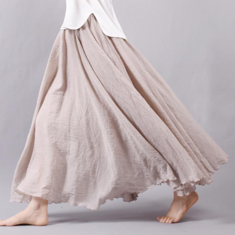 Sherhure 2017 Women Linen Cotton Long Skirts Elastic Waist Pleated Maxi Skirts Beach Boho Vintage Summer Skirts Faldas Saia
