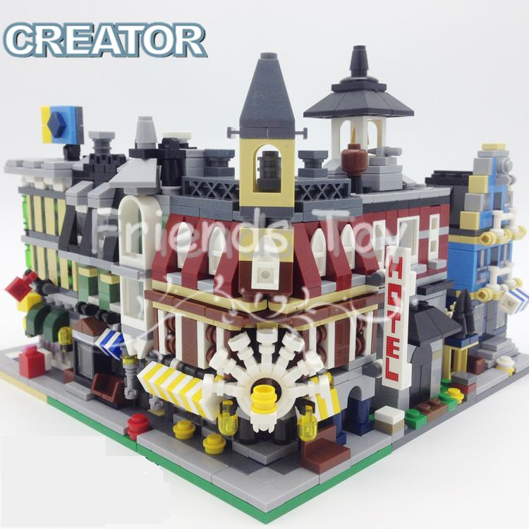Mini Street View Fire Station Hotel Shop Mall City Set Building Bricks Blocks Toy Gift Lepin Compatible With Lego compatible lepin city mini street view building blocks chinatown satin silk store with saleman figures toys for children gift