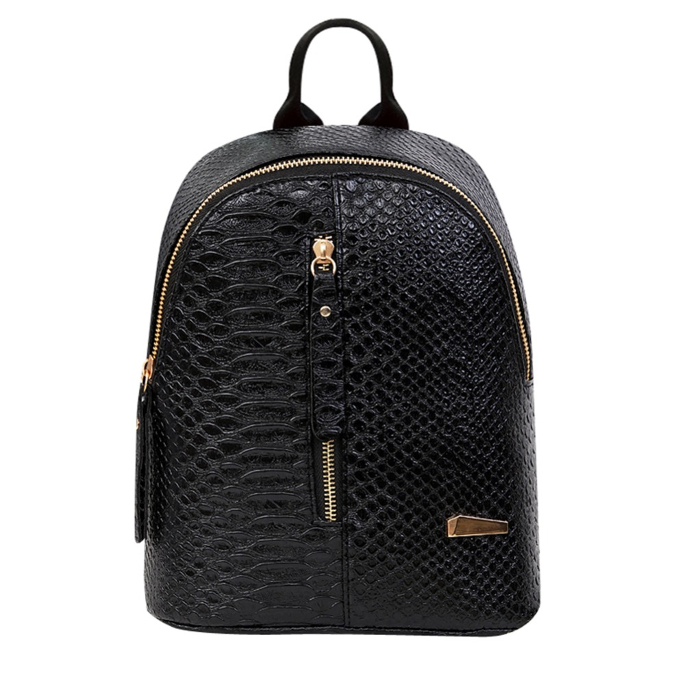 2018 Crocodile PU Leather Women Backpack Solid School Bags for Teenage girls Travel Mini Back Pack Sac a Dos Mochila Feminina